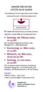 Termine Letzte-Hilfe-Kurse für 2020 auf einen Blick